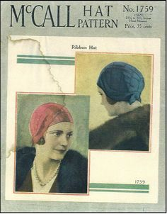 McCall Hat Pattern No. 1759 Cloche style (1930's)