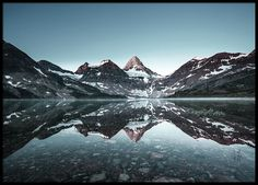 Print with a nature photo of beautiful snow covered mountains reflected in the water. A relaxing and beautiful image that will look great on a wall. This motif is lovely on its own and maybe with a mindfulness-inspired quote. www.desenio.co.uk