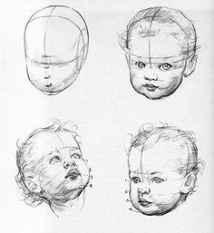 New baby face drawing sketch ideas Pencil Art Drawings, Realistic Drawings, Art Drawings Sketches, Eye Drawings, Pencil Sketching, Drawing Heads, Painting & Drawing, Drawing Drawing, Drawing Proportions