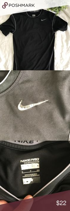 Nike Dry Fit Workout Exercise Shirt compression In excellent used condition, some peeling on the logo and elsewhere as shown in photos! Price negotiable, make me an offer! ✨don't forget to checkout my closet for a bundle deal! 🌸 ships today! 💕 Nike Shirts Tees - Short Sleeve