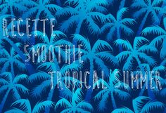 Tropical blue palm forest in a seamless pattern