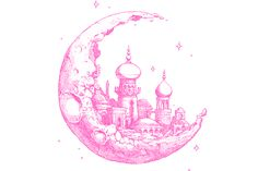 crescent moons, fantastical kingdoms/ buildings, four pointed stars