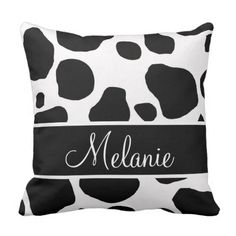 Personalised Black White Cow Spots Pillow. >>> See more by going to the picture
