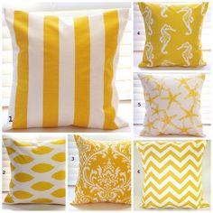 Pillows Beach Decor Yellow Pillows Throw Pillows by PillowsByJanet, $17.00 #yellow #throw_pillows #guest_bed