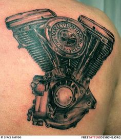 Harley Davidson engine tattoo. this is going to be my next tattoo, for my dad. but its going to be the of the actual v-twin off his harley.