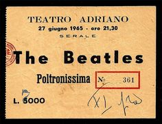 1965 Italian concert ticket from 27th June - find out full details at www.fab4info.com