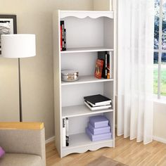 "Corliving Hawthorn 60"" Tall Bookcase in Frost White - S-117-NHL"