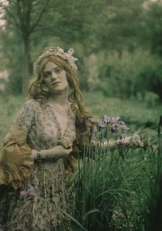 "Paul Bergon ""Woman Posing in a Garden"" autochrome photo, 1910"