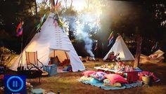Tents, colour, ribbons on sticks