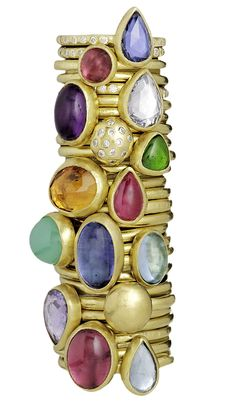 Stephanie Albertson handcrafted 22K gold, diamond & gemstone stack rings - prefer  the ones with diamonds  on the band