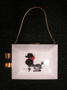 Vintage Poodle Purse Compact Evening Bag