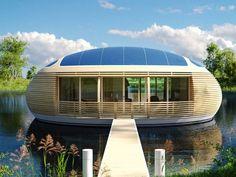 Avec ses courbes fluides, la maison flottante WaterNest 100 invite à la contemplation. Se voulant design et surtout écologique, elle est construite en matériaux recyclés. Un projet rondement mené par l'architecte italien Giancarlo Zema. Visite.