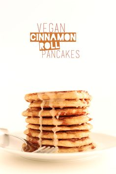 Vegan Yeasted Cinnamon Roll Pancakes! minimalistbaker.com recipes