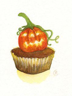 Cupcake 37 - Original Watercolor Painting 8x6 inches