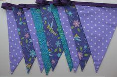 Tinkerbell Party Ideas. Tinkerbell Party. Tinkerbell fabric bunting.