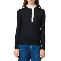 Sandro Colane Eyelet Detail Wool Blend Sweater Long Tops, Winter Wardrobe, Sandro, Lace Trim, Wool Blend, Knitwear, Sweaters For Women, Clothes For Women, How To Wear