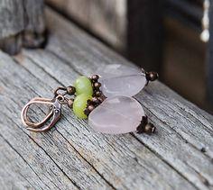 gabi111 / Ruženínové srdiečka s jadeitom - náušnice