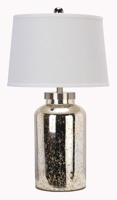 Living Room Decor: Glass Lamp by Ashley Furniture at Kensington Furniture. This shabby chic lamp looks great in either the living room or bedroom