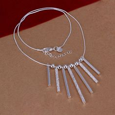 Vintage Jewelry 925 Sterling Silver Chain Necklace Seven Column Retro Necklace Womens Jewellery