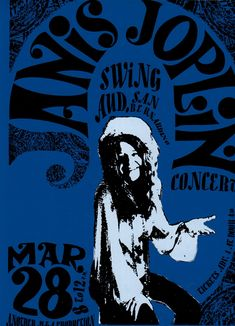 A 1968 Janis Joplin concert poster has graphic punch, yet remains free of mechanical typography. Oh, for the artist's hand!