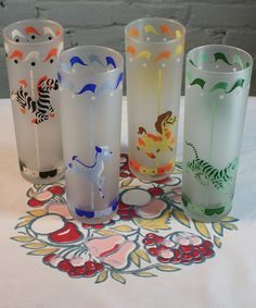 Vintage 50s Frosted Merry-Go-Round Printed Childrens 4 Piece Glass Set $34.49 For the cautious child that can be trusted with glass…or for the child at heart that likes a little whimsy, this set of four drinking glasses features a delightful merry-go-round print.