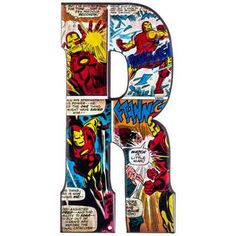 R Marvel Heroes Embossed Tin Letter