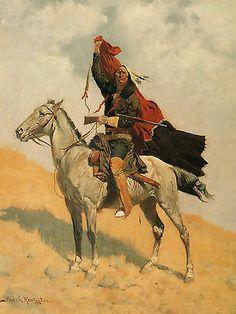 "1896 Frederic Remington The Blanket Signal Indian Horse Rifle Nice 18"" Print | eBay"