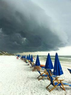 Clouds rolling in on the beach at Destin, FL Destin Florida, Florida Trips, Florida Weather, Florida Girl, Parasols, Umbrellas, Destinations, I Love The Beach, Am Meer