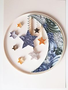 Moon and Stars Quilled Nursery Wall Art New Baby Gift image 0 Paper Quilling Cards, Paper Quilling Patterns, Paper Quilling Jewelry, Origami And Quilling, Quilled Paper Art, Quilling Paper Craft, Paper Crafts, Quilling Comb, Neli Quilling
