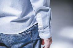 chemise brushed bleue tissu italien drapeau noir