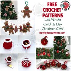 FREE last minute Christmas gifts! Unexpected guest coming for the holiday celebrations? Need a last minute gift? Don't worry, you can hook up these cute little gifts in no time! Find all of these FREE seasonal crochet patterns at Hooked On Patterns. Crochet Christmas Garland, Christmas Crochet Patterns, Holiday Crochet, Crochet Ornaments, Crochet Winter, Modern Crochet Patterns, Crochet Amigurumi Free Patterns, Free Crochet, Crochet Ideas