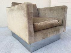 Milo Baughman Cube Club Lounge Chair Mid Century #MidCenturyModern #MiloBaughman