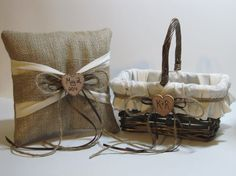 Personalized Rustic Flower Girl Basket and Ring Bearer Pillow For Your Country Wedding on Etsy, $45.00