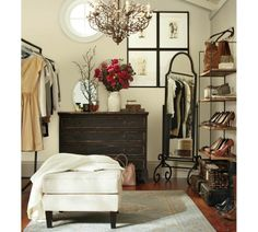 Normally not a big PB fan but I like this rustic dresser - and the contrast with the clean lineny white on the walls. Oh to have a dressing room!