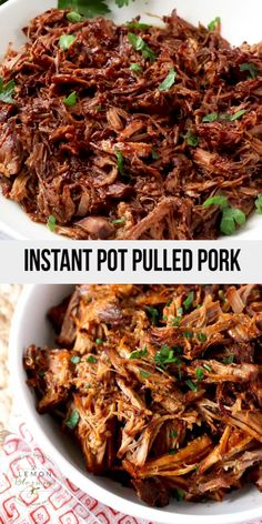 This Instant Pot Pulled Pork is incredibly tender, flavorful, easy and very quick to make with the help of a pressure cooker (Instapot). This BBQ pulled pork recipe is perfect for a weeknight meal, cookouts, summer parties and holidays. Pulled Pork Instant Pot Recipe, Bbq Pulled Pork Recipe, Best Instant Pot Recipe, Instant Pot Dinner Recipes, Healthy Dinner Recipes, Pulled Pork Loin, Crock Pot Pulled Pork, Instant Pot Meals, Sweet Pork Recipe