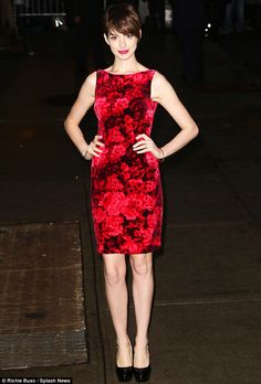 In bloom: Anne looked lovely earlier in the day in a red floral shift dress when she went to tape her interview on The Late Show with David Letterman