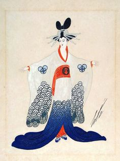 Costume Sketch For Ganna Walska As Cio San Madame Erfly Erté Romain De Tirtoff Russia Active France And United States 1923 Drawings