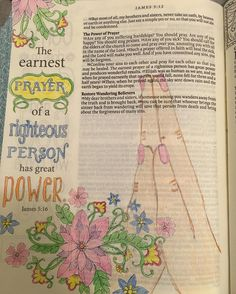 "The first page completed in my Inspire Creative Bible. ""The earnest prayer of a…"