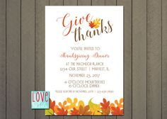 Thanksgiving Invitation Fall Harvest Autumn Wedding by lovebabble