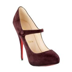 Christian Louboutin Decocolico Suede Mary Jane Pump Claret