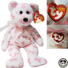 Ty Beanie Baby Giving Bear Breast Cancer Awareness Pink Teddy #Ty #beaniebaby #breastcancer