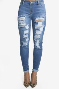 Destroyed Skinny Jeans - Bare Feet Shoes - 1