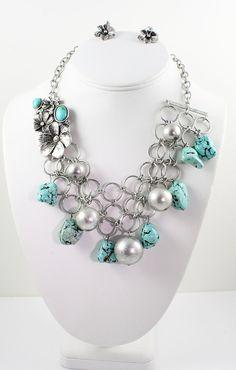 Turquoise Necklace Statement Necklace Flower Necklace Necklace Set