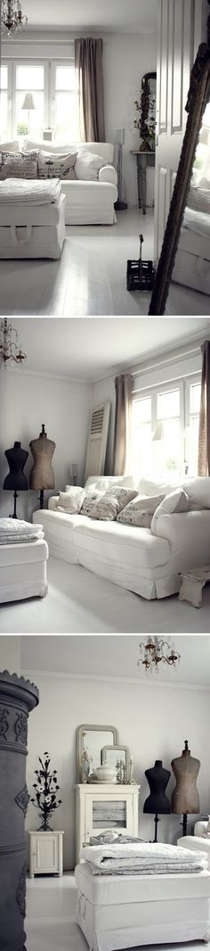 MY STYLE :: Love her white decor. | #whiteliving #whites