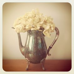 Teapot  Silverplated  Shabby Chic Vase by LillyQueenVintage, $27.00