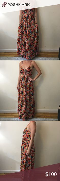 Free People Pink Yellow Floral Cut Out Maxi Dress Free People Dress Free People Dresses Maxi