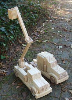 Wooden Toy Utility Bucket Truck by MyFathersHandsLLC on Etsy