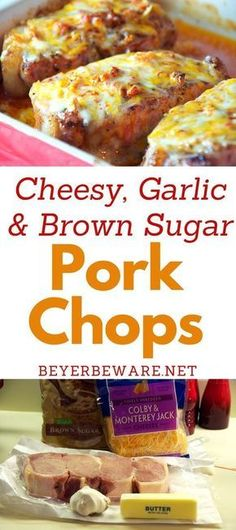 Cheesy Garlic and Brown Sugar Pork Chops A quick baked pork chop recipe that is full of flavor from the brown sugar and garlic. Adding cheese to the last five minutes of baking make these cheesy garlic and brown sugar pork chops irresistible. Yummy Recipes, Easy Pork Chop Recipes, Cooking Recipes, Cooking Tips, Recipes With Pork Chops, Dinner Recipes, Butterfly Pork Chop Recipes, Best Pork Chop Recipe, Recipes