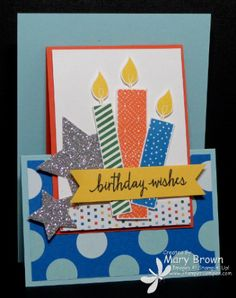 2015  Build a Birthday Paper:Whisper White, Pool Party, Tangerine Tango, Daffodil Delight, Schoolhouse dsp, Silver Glimmer Ink:Memento Black, Pacific Point, Tangering Tango, Garden Green, Daffodil Delight Other:Star Framelits, Dimensionals