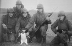 Soldados argentinos con un pinguino en las islas Malvinas, 1982.